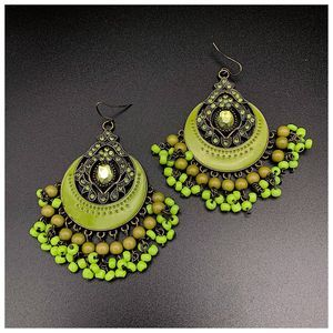 Boho Green Rhinestone Beaded Chandelier Earrings